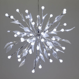 LED lightball, 100 white LEDs, with leaves
