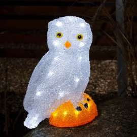 Acrylic LED owl, 32 coldwhite LEDs
