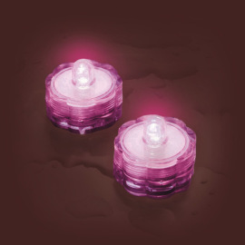 LED tea light Set of 2, waterproof, pink