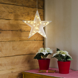 LED Plastic Star, warmwhite, 20 LEDs