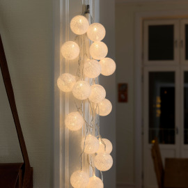 Decorative LED light set with white cotton balls, 6cm