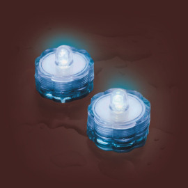 LED tea light Set of 2, waterproof, blue