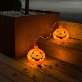 LED acrylic pumpkin, Set of 2, with 6h Timer