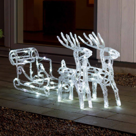 Acrylic LED set sleigh with reindeer, 96 cold white LEDs