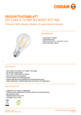 Spécifications Osram LED SUPERSTAR FILAMENT klar DIM CLA 75 8,5W 827 E27