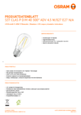 Hersteller Datenblatt Osram LED SUPERSTAR FILAMENT klar DIM CLP 40 4,5W 827 E27
