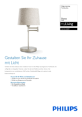 Data sheet Philips myliving Donne Table Lamp 40W