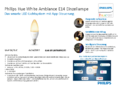 Spécifications Philips Hue LED E14 White Ambiance 6W