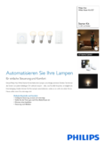 Spécifications Philips Hue White LED E27 set de 3 starter set 9,5W avec variateur d'ambience