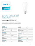 Spécifications Philips CorePro LEDbulb 6-40W A60 E27 827 DIM matt