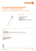 Data sheet Osram SubstiTube Pure T8 600mm 7,6W 840 EM