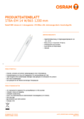 Data sheet Osram SubstiTube Advanced 14W 1200mm 865 EM T8