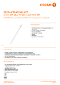 Data sheet Osram SubstiTube Value 17W 1200mm 865 EM T8