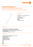 Spécifications Osram SubstiTube Value 20W 1500mm 830 EM T8