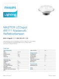 Data sheet Philips MASTER LEDspot 10-50W 930 AR111 8° DIM
