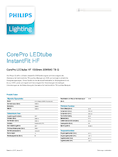 Data sheet Philips CorePro LEDtube 1500mm 20W 840 2000lm G13 InstantFit EVG