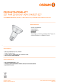 Data sheet Osram LED SST DIM PAR20 50 36° 5W 827 E27