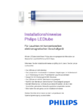 Installationsanleitung Master LEDtube Value 1500mm, 20W, kaltweiß