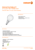 Data sheet Osram LED STAR RETROFIT matt CLP 40 4W E14 865 non dim