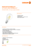 Data sheet Osram LED STAR FILAMENT klar CLA 40 4W 840 E27 non dim