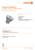 Data sheet Osram LED STAR MR11 20 36° 2,9W 827 12V GU4