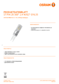Spécifications Osram LED STAR  PIN 30 klar non-dim  2,4W 827 GY6.35