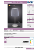 Data sheet WOFI table lamp CESENA grey