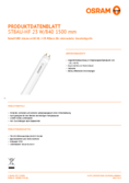 Data sheet Osram SubstiTube Advanced UO 23W 1500mm 840 EM 230V FLH1 T8