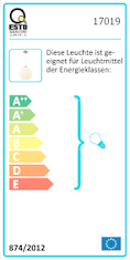 Energy efficiency label ESTO pendant light PERLA 30cm
