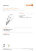 Data sheet Osram LED STAR T26 20 2,2W 827 frosted E14
