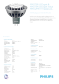Data sheet Philips MASTER LEDspot 7-35W 830 GU5.3 24° DIM