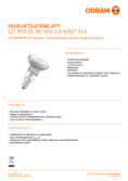Data sheet Osram LED SST DIM R50 Glas 40 36° 3,5W 827 E14